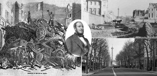 Le véritable but des travaux de Haussmann c'était de s'assurer contre l'éventualité d'une guerre civile. Il voulait rendre impossible à tout jamais la construction de barricades dans les rues de Paris. Poursuivant le même but Louis-Philippe avait déjà introduit les pavés de bois. Quand les formes architecturales sont du contenu social et politique sédimenté.